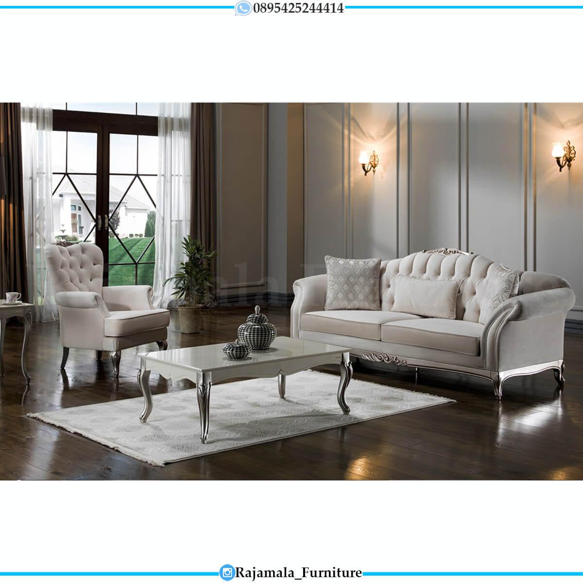 Sofa Tamu Minimalis Mewah Silver Shadow Classic Color Art Duco RM-0622