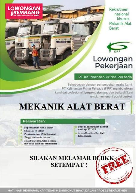 Lowongan Kerja Mekanik Alat Berat PT Kalimantan Prima Persada
