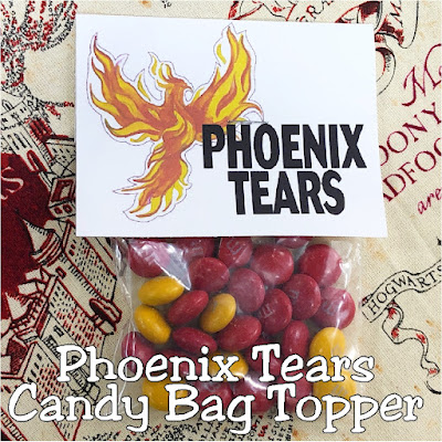 Help save Harry and your party guests at your Harry Potter party with these printable bag toppers perfect for your favorite candy treat.  Just add candy M&Ms as Phoenix tears so your guests will be safe as the face the Chamber of Secrets or whatever dangers come their way.
