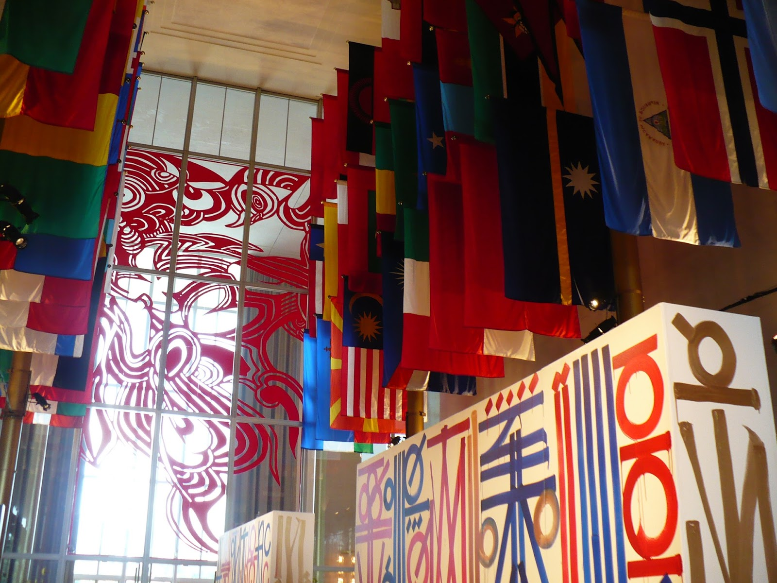IN PERFORMANCE: display of artwork by RETNA in Kennedy Center's Hall of Nations in conjunction with Washington National Opera's production of Giuseppe Verdi's AIDA, September 2017 [Photo by the author]