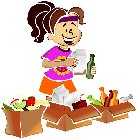 Piirroskuvassa nainen lajittelee kotitalousjätteitä eri astioihin.