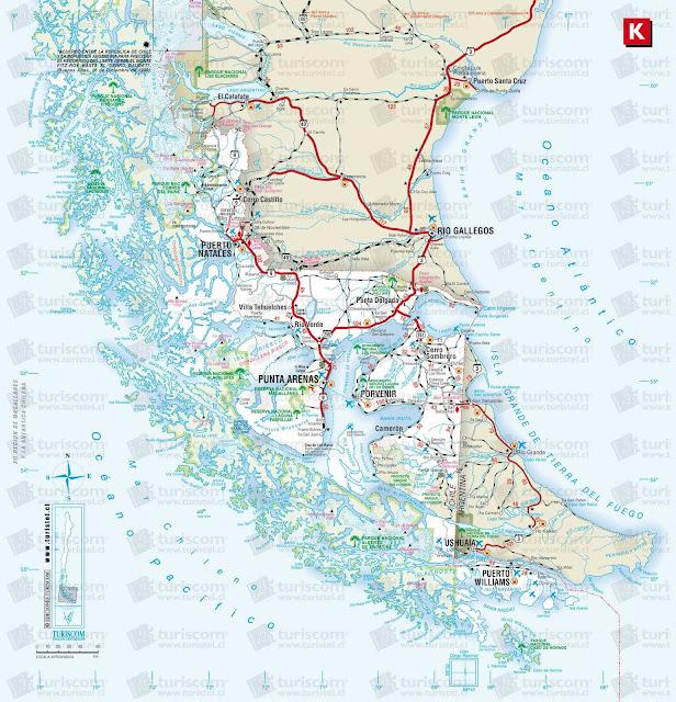 Mapa do extremo sul da América do Sul