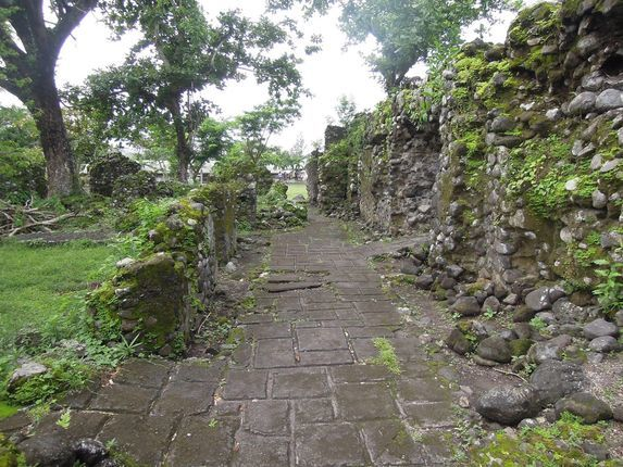 The old walls and aisle of Cagsawa Ruins in Albay