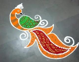 long peacock rangoli design