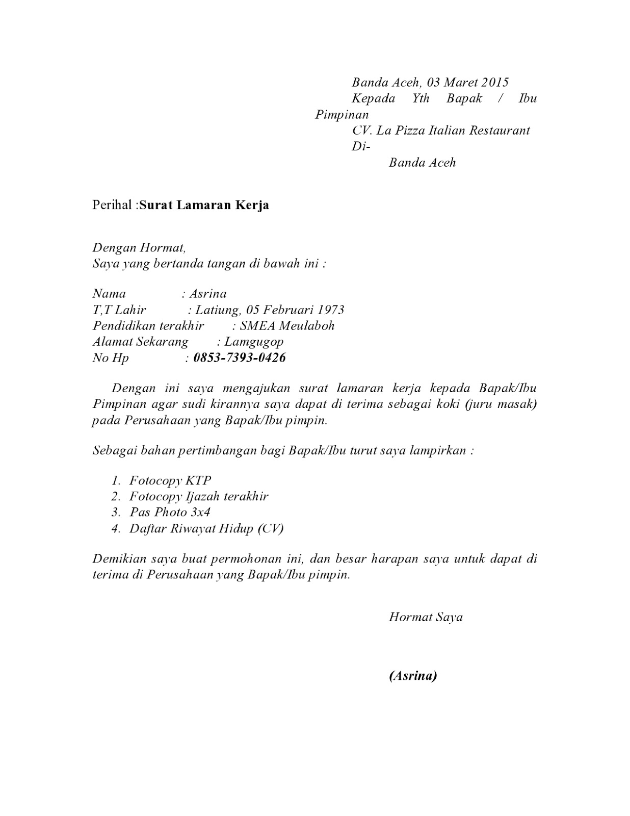 Contoh Surat Lamaran Kerja Bahasa Inggris Yang Simple Dan Artinya