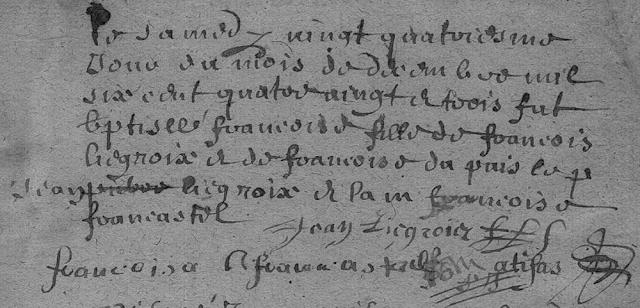 Baptême de Françoise Liegrois