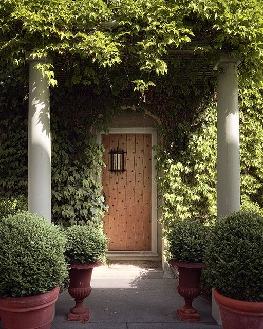 Ivy covered California home of Myra Hoefer with lush gardens and French inspired interiors. #ivyclad #climbingvines #vintagedoors #MyraHoefer