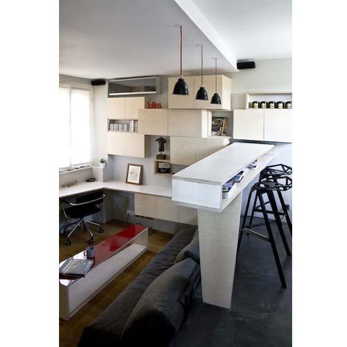 Creare un soggiorno con tavolino in un appartamento di 16 mq a Parigi