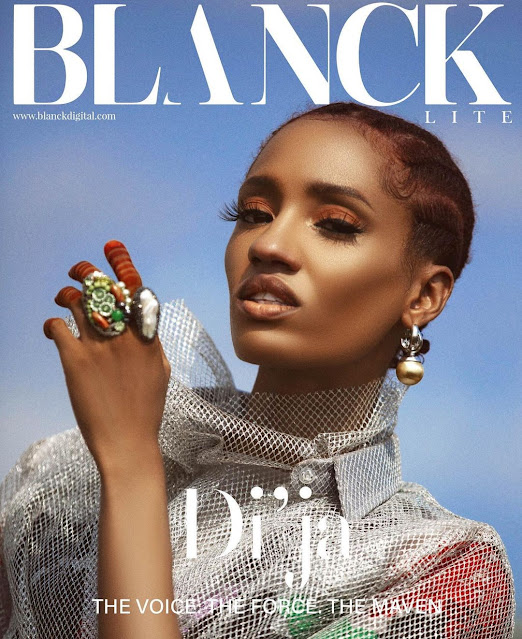 Insight on Di'Ja talking about finding her voice on the Cover of Blanck Magazine's Lite Issue 2021