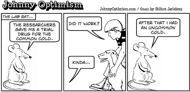 johnny optimism, medical, humor, sick, jokes, boy, wheelchair, doctors, hospital, stilton jarlsberg, lab rat, test, common cold, experimental, drug, trial