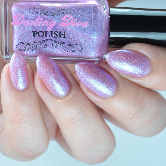 pale pink holographic nail polish