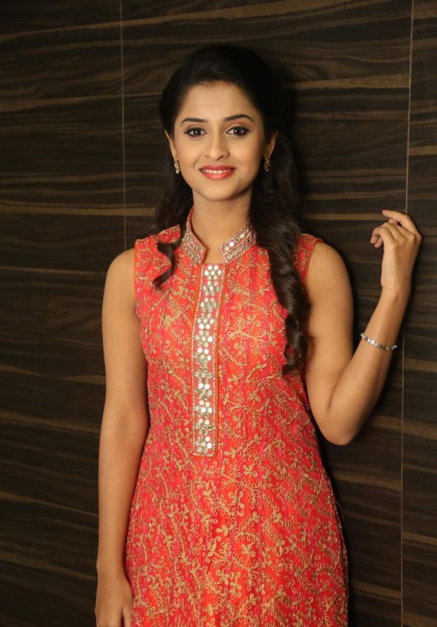 Arthana Latest Cute Stills In Red Dress