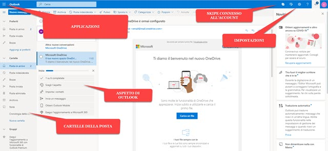 interfaccia di outlook email della microsoft