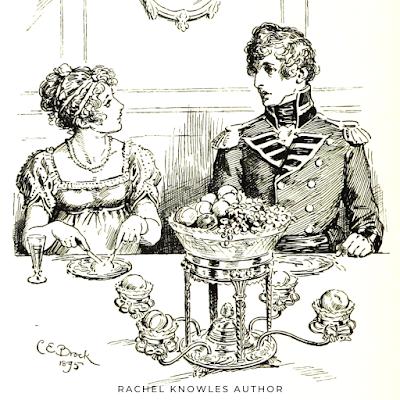 Elizabeth Bennet and Mr Wickham at dinner   Pride and Prejudice by Jane Austen (1813) Illustration by C E Brock (1895)