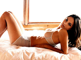Josie Maran On Bed In Lingerie