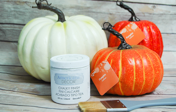 Supplies needed to make plastic pumpkins look real