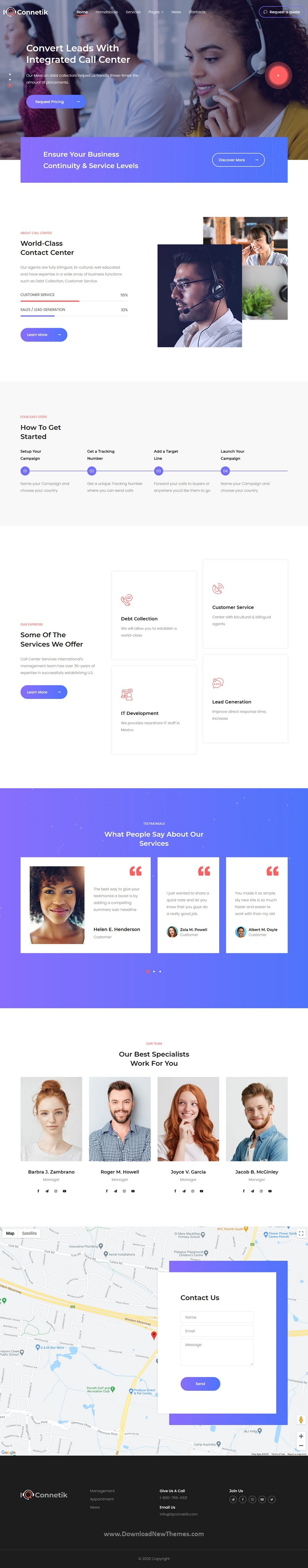 Modern Call Center WordPress Theme