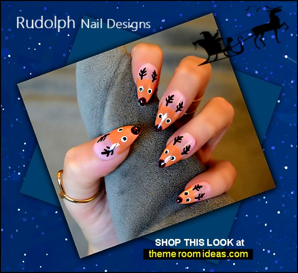 Rudolph nails  Christmas nails Reindeer - The Holy Nail, Luxury Hand Painted Press On Nails