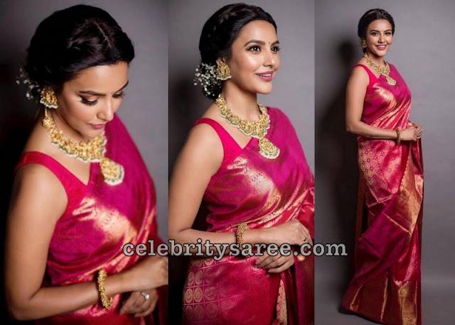 Priya Anand Pink Kanchi Pattu Saree