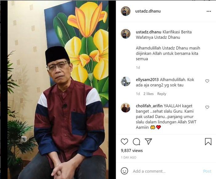 Klarifikasi Ustaz Dhanu terkait dirinya dikabarkan meninggal dunia. Instagram @ustadz.dhanu