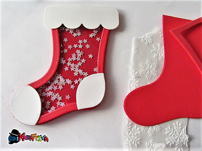 shaker card stellata per un chiudi pacco di natale (tag calza)