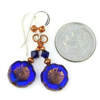 cobalt blue flower jewelry with copper for her