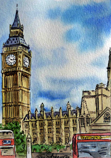 Watercolour Sketch of London Big Ben Parliament building