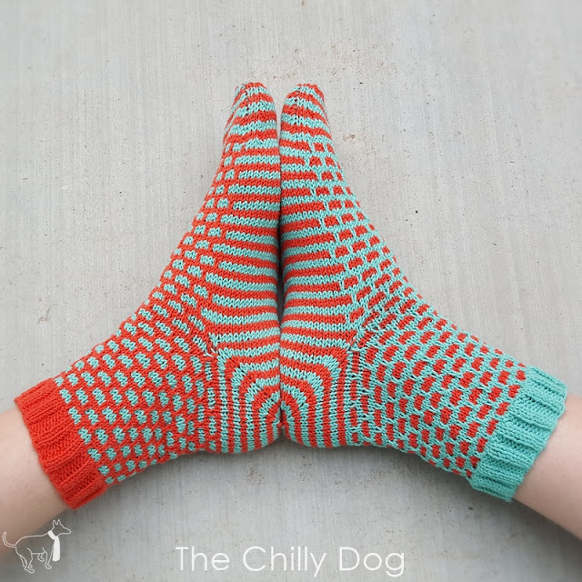 1 Sock, 2 Sock, Red Sock, Blue Sock Pattern designed by The Chilly Dog - kits available at Paradise Fibers