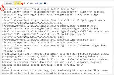 halaman konten dalam opsi HTML