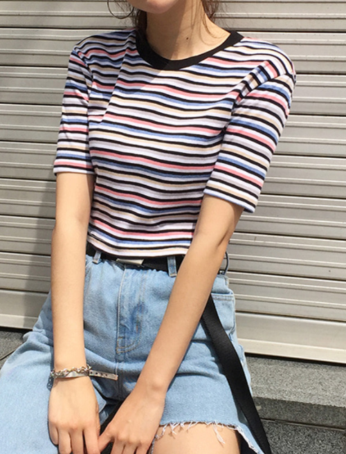 Crush Stripe Round Neck Crop T-Shirt