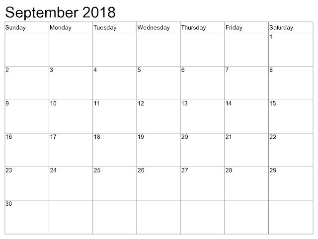 September 2018 editable calendar