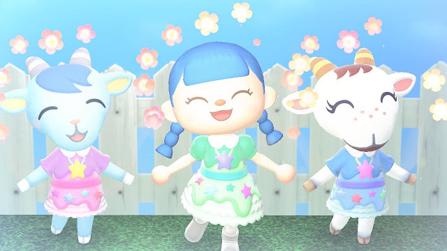 A screenshot of two Animal Crossing New Horizon characters, a human, a blue goat and a white goat, all wearing very cute dresses
