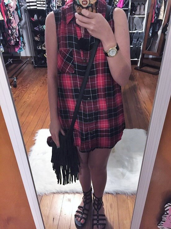 red plaid crochet back tank top outfit of the day