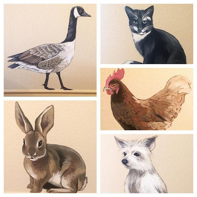 animal paintings, animal murals, pet portraits, portland pet portrait, portland muralist
