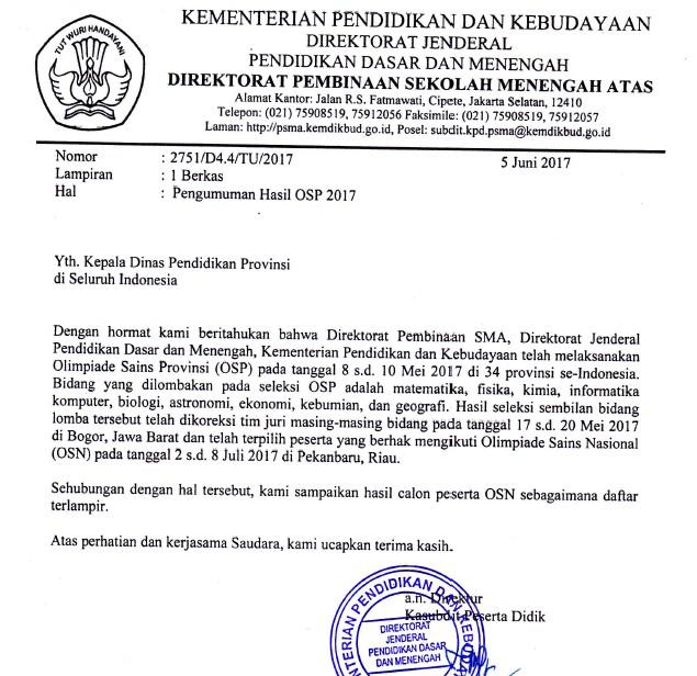 Pengumuman Hasil OSP SMA 2017 Provinsi Bengkulu