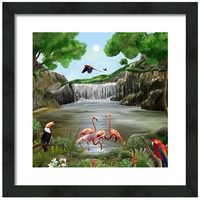 pool party, landscape art, wildlife art, fun art, flamingo art, fine art america,
