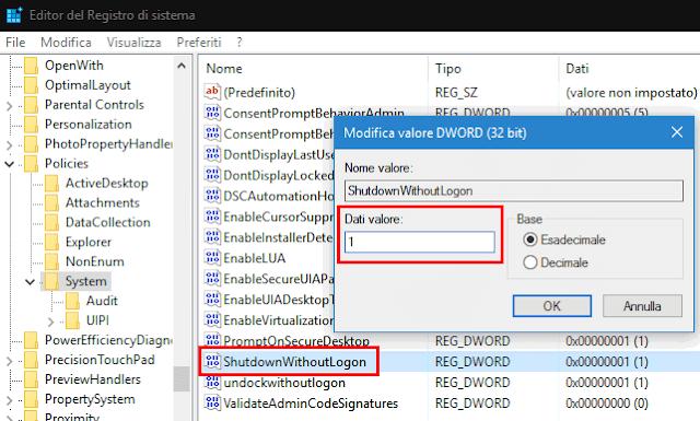 Registro sistema mostrare nascondere pulsante spegnimento schermata accesso Windows