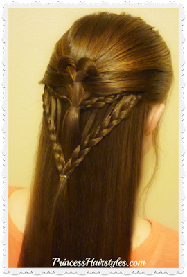 Valentines Day hairstyle tutorial. Arrow braid heart.