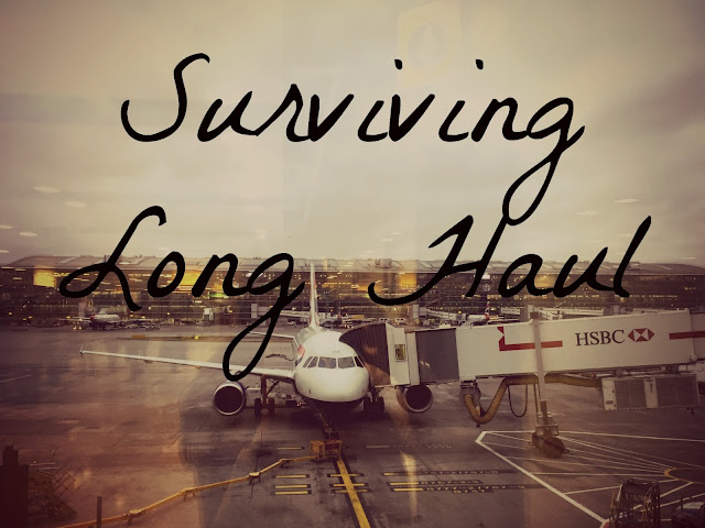 """Surviving Long Haul"" text on background of airplane with gate attached on airport runway beside terminal building"