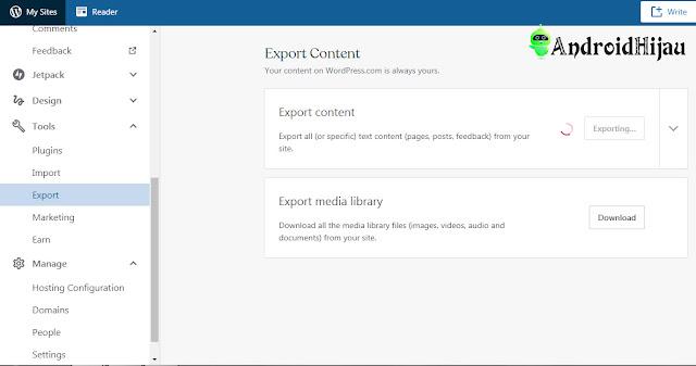 mulai export content dari wordpress dummy