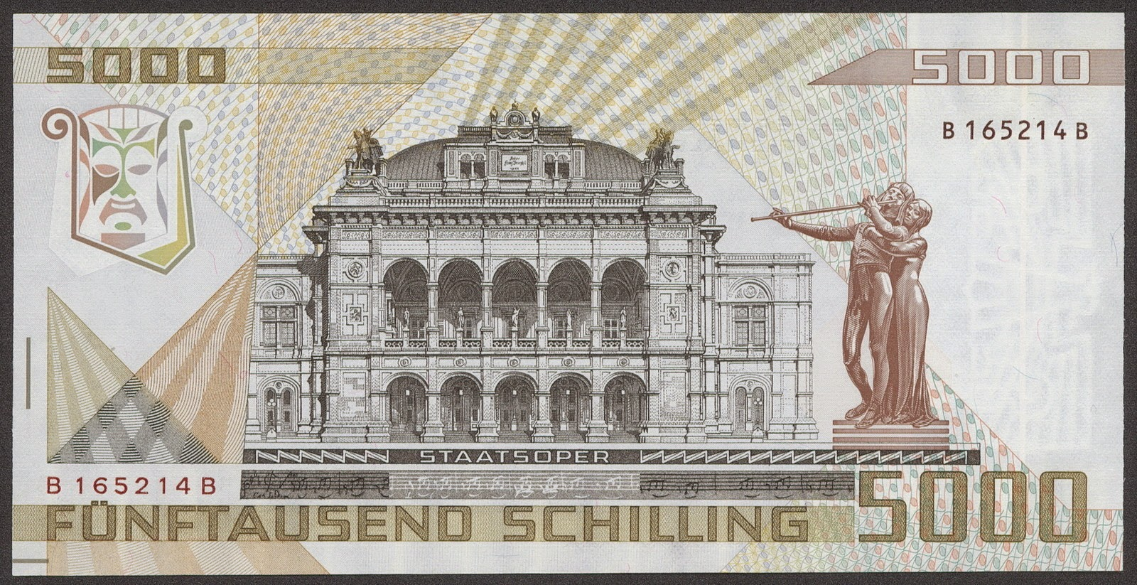 Austria money currency 5000 Austrian Schilling bank note image