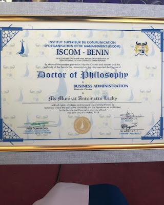 #BBNaija star Anto Lecky bags honorary doctorate degree from Iscom University Benin