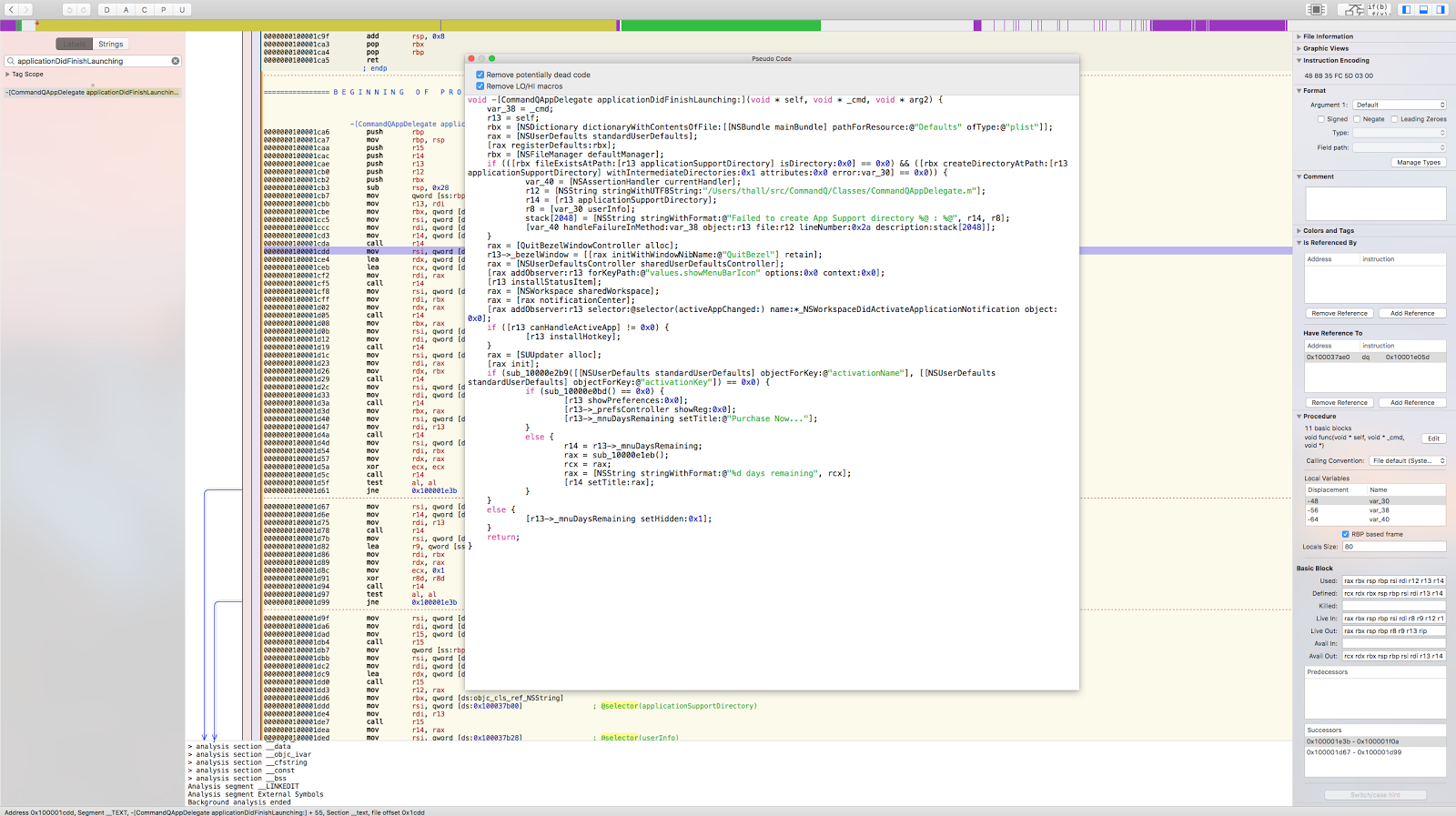 Reverse Engineering CommandQ Mac App and Removing licence