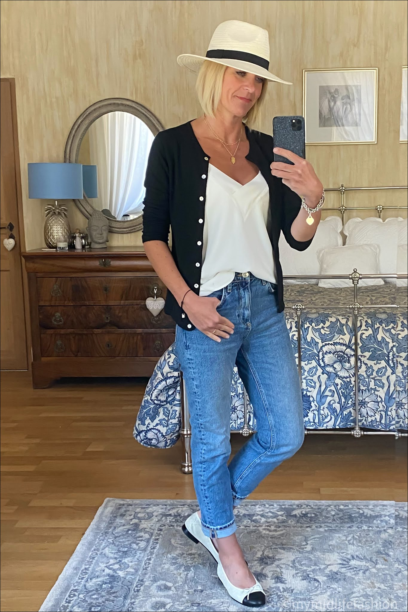 My midlife fashion, Zara Panama hat, pink avocet crew neck cardigan, mango camisole, Zara straight legged jeans, Chanel two tone ballet pumps