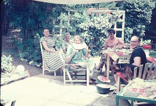 Patio area before Grandpa enclosed, June, Aunty Nettie, Grandma, Des & Uncle Gil