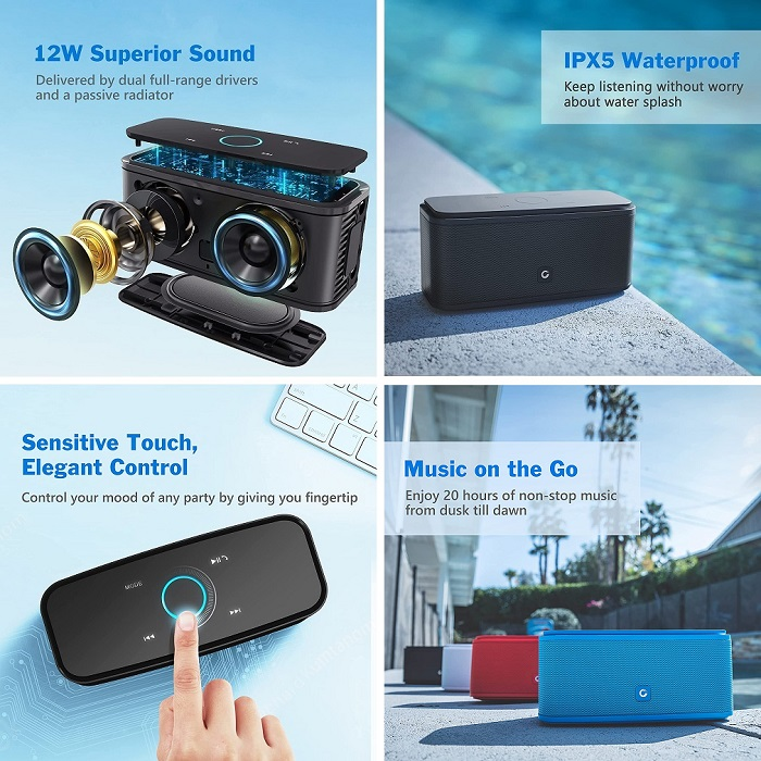 DOSS SoundBox - Portable Waterproof Bluetooth Speaker