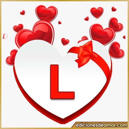 corazones volando con letra L