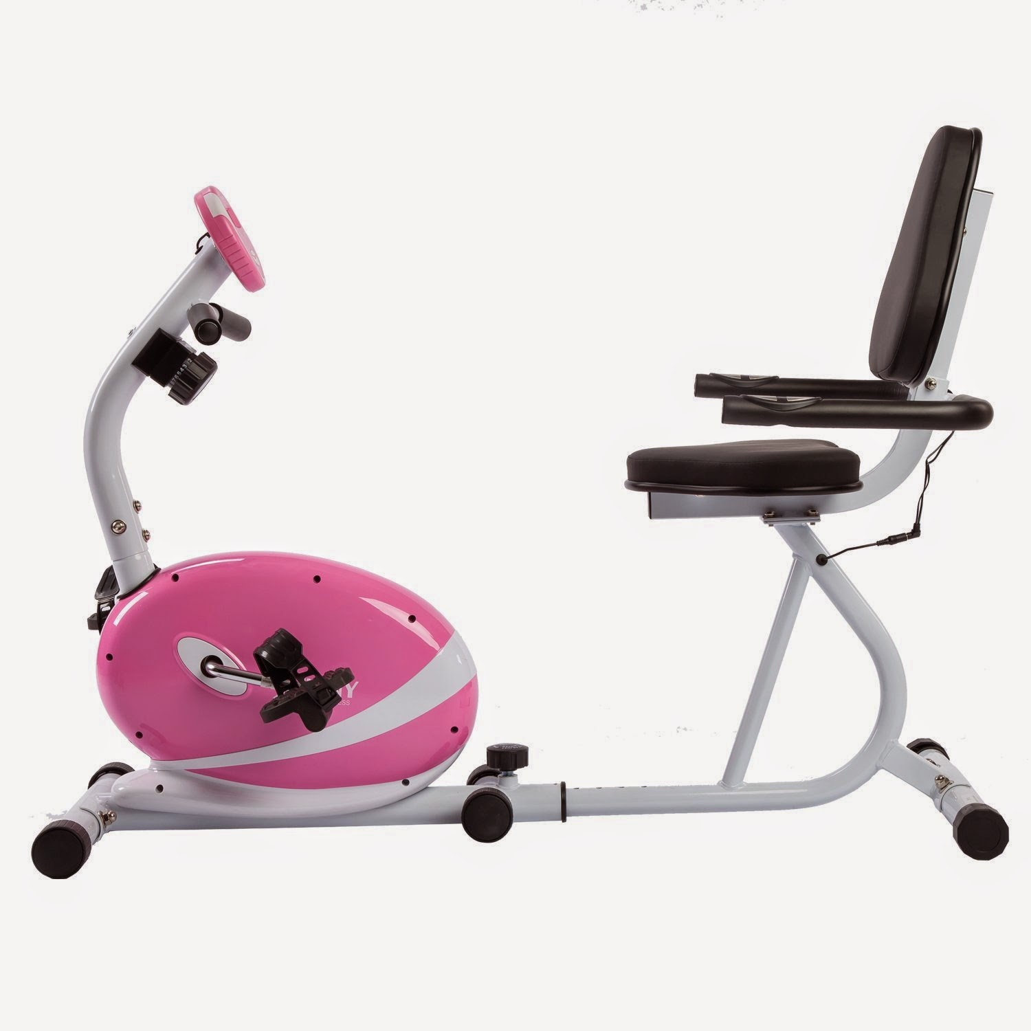 Sunny Health & Fitness Pink Magnetic Recumbent Bike, review features, 8 levels of manual resistance adjustment