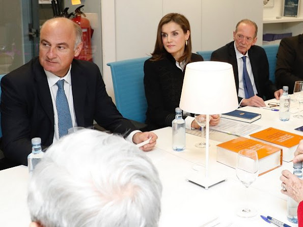 Queen Letizia carried Malababa Minihontas Clutch Bag and wore Bimba y Lola Gold Earrings, Zara Jacket