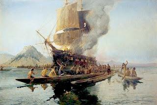 El velero Boyd, en el momento de la explosión provocada por el jefe Piopio